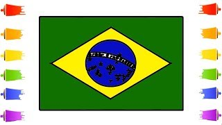 How to Draw Brazil Flag    Brazilian Flag Art Coloring for Kids Learn Step by Step    Little Channel