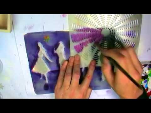 Andy Skinner stencils and a Gelli Plate