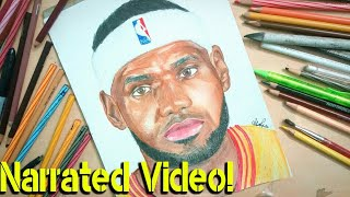 How to draw LeBron James-Narrated video-Drawing LeBron James -Celeb Portrait#18