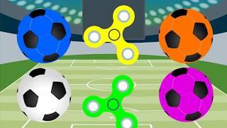 Aprender cores com bolas de futebol e fidget spinner colorido