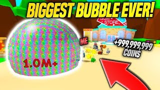 *NEW* BLOWING THE BIGGEST POSSIBLE BUBBLE IN BUBBLE GUM SIMULATOR!! *INSANE* (Roblox)