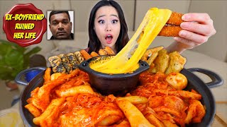 KOREAN SPICY RICE CAKES + STRETCHY CHEESE MUKBANG | Eating Show