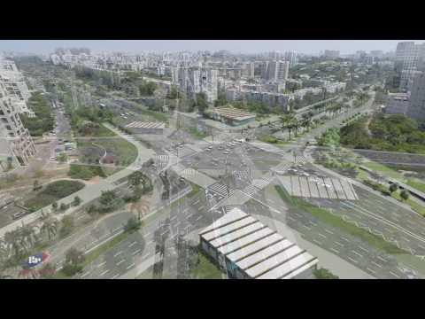 הדמיית הקו הירוק של הרכבת הקלה, צפון תל-אביב