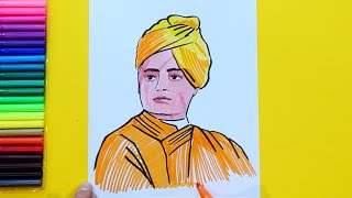 How to draw and color Swami Vivekananda