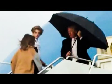 Trump Hogs Umbrella, Leaves Melania And 11 Year Old Son In Rain (Video)