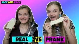Real vs Prank Slime Smoothie Challenge ~ Jacy and Kacy