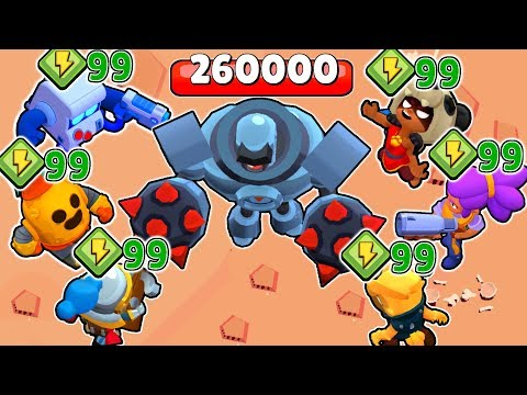 ROBOT vs ALL Brawlers  with 99 POWERS   Who destroys it faster   Brawl stars