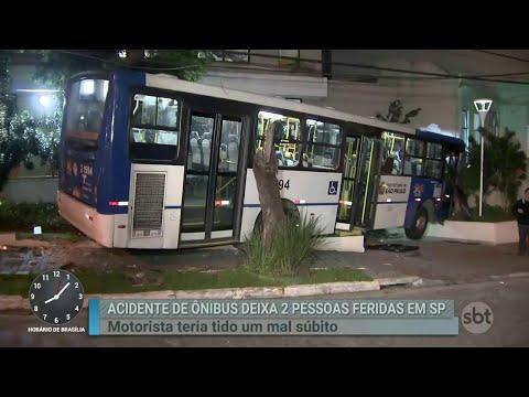 Acidente com ônibus deixa duas pessoas feridas em São Paulo | Primeiro Impacto (27/08/18)