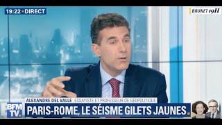 DEL VALLE analyse la crise diplomatique FRANCE/ITALIE pour BFM TV sur fond de révolte Gilets Jaunes