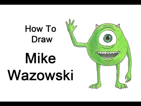How To Draw Mike Wazowski Monsters Inc Youtube