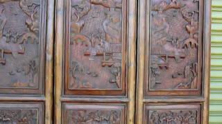 Antiques Door Panels Screen Six Fine Carving Set Y524s