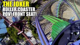 The Joker Front Seat & Rider Cam Roller Coaster POV! Six Flags Discovery Kingdom
