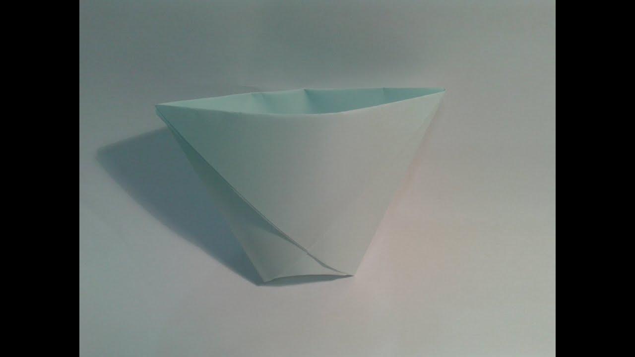 Origami para principiantes 4 como hacer un vaso de papel - Como hacer jarrones de papel ...