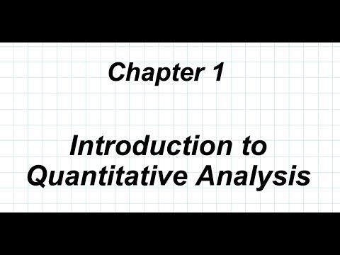 SBNM 5411 Lecture 1:  Introduction To Quantitative Analysis