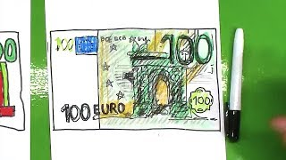 How to draw EURO / How to draw a banknote / money Europe