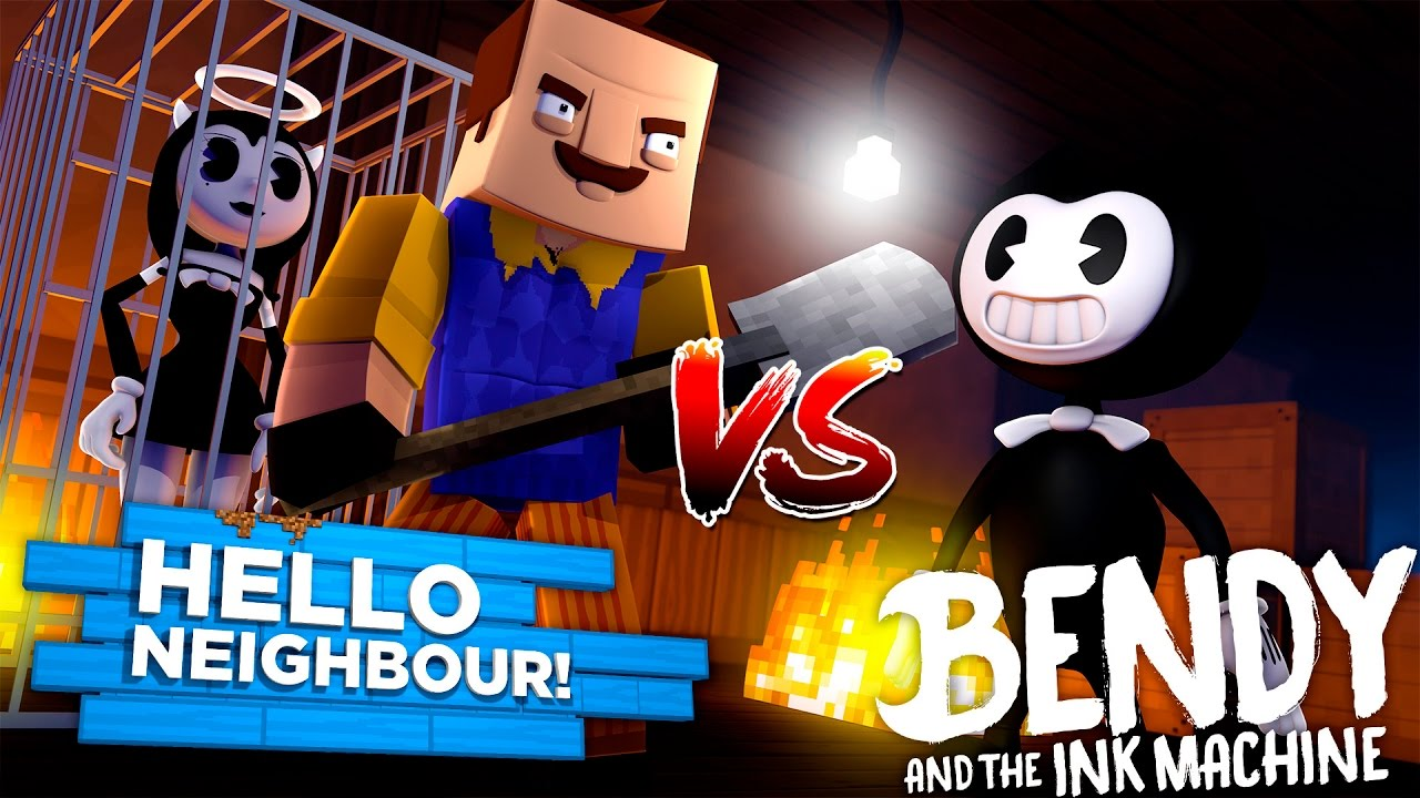 Minecraft BENDY AND THE INK MACHINE, HELLO NEIGHBOR KIDNAPS BENDY'S GIRL  ALICE ANGEL IN HIS BASEMENT