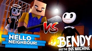minecraft bendy and the ink machine hello neighbor kidnaps bendy s girl alice angel in his basement