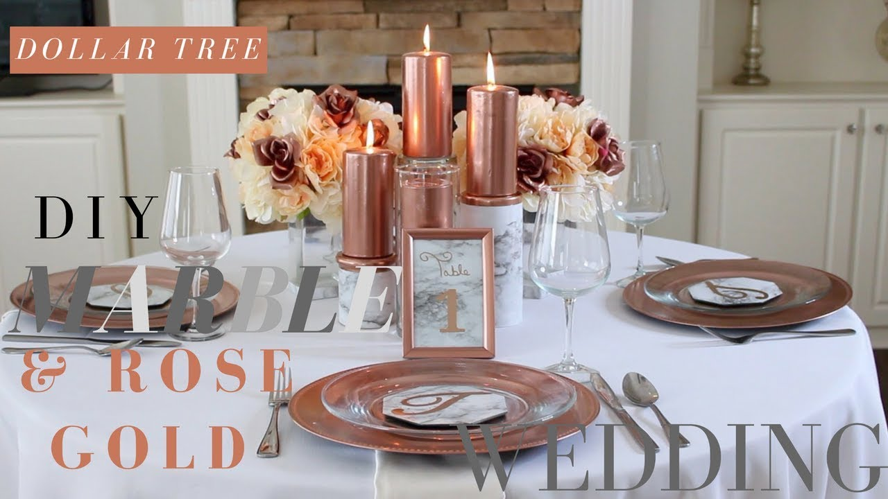 Diy Marble Rose Gold Wedding Decorations Dollar Tree Centerpiece