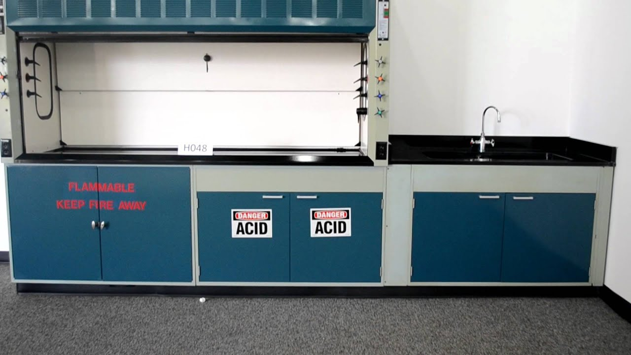8' Safeaire Hamilton Fisher Chemical Fume Hood with Sink and Sink Base - YouTube