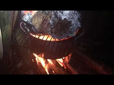 Diy Wood Stove - Camp Buzzard -cooking a chicken