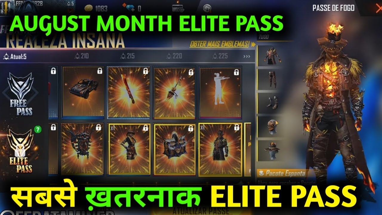 FREE FIRE NEW ELITE PASS 39 FULL VIDEO|AUGUST MONTH ELITE PASS-Garena free fire