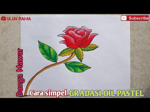 Cara Mudah Menggambar Bunga Mawar Merah Gradasi Warna Oil Pastel Youtube