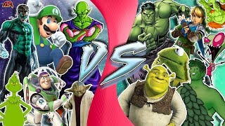 GREEN FREE FOR ALL! (Piccolo vs Hulk, Luigi, Shrek, Link, Kermit, Yoda & More!) CARTOON FIGHT CLUB!