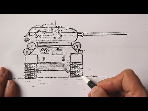 Как нарисовать Танк Т-34-85 ручкой поэтапно