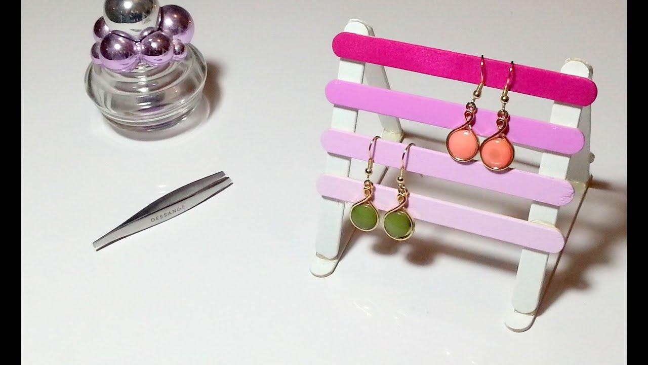 Super DIY Déco Porte boucles d'oreilles/bijoux avec des bâtons de glaces  AQ95