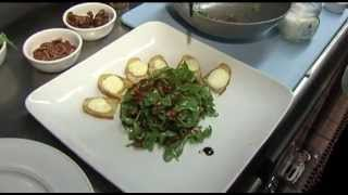 Recipe: Arugula Salad With Dates, Pecans And Goat Cheese Toasts