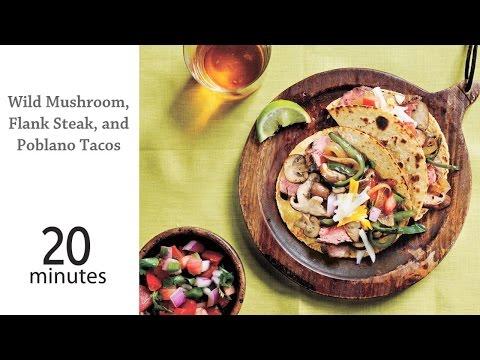 Wild Mushroom, Flank Steak, and Poblano Tacos | MyRecipes
