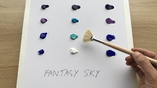 Daily Challenge #1 / Acrylic / How to paint a fantasy sky with Acrylic