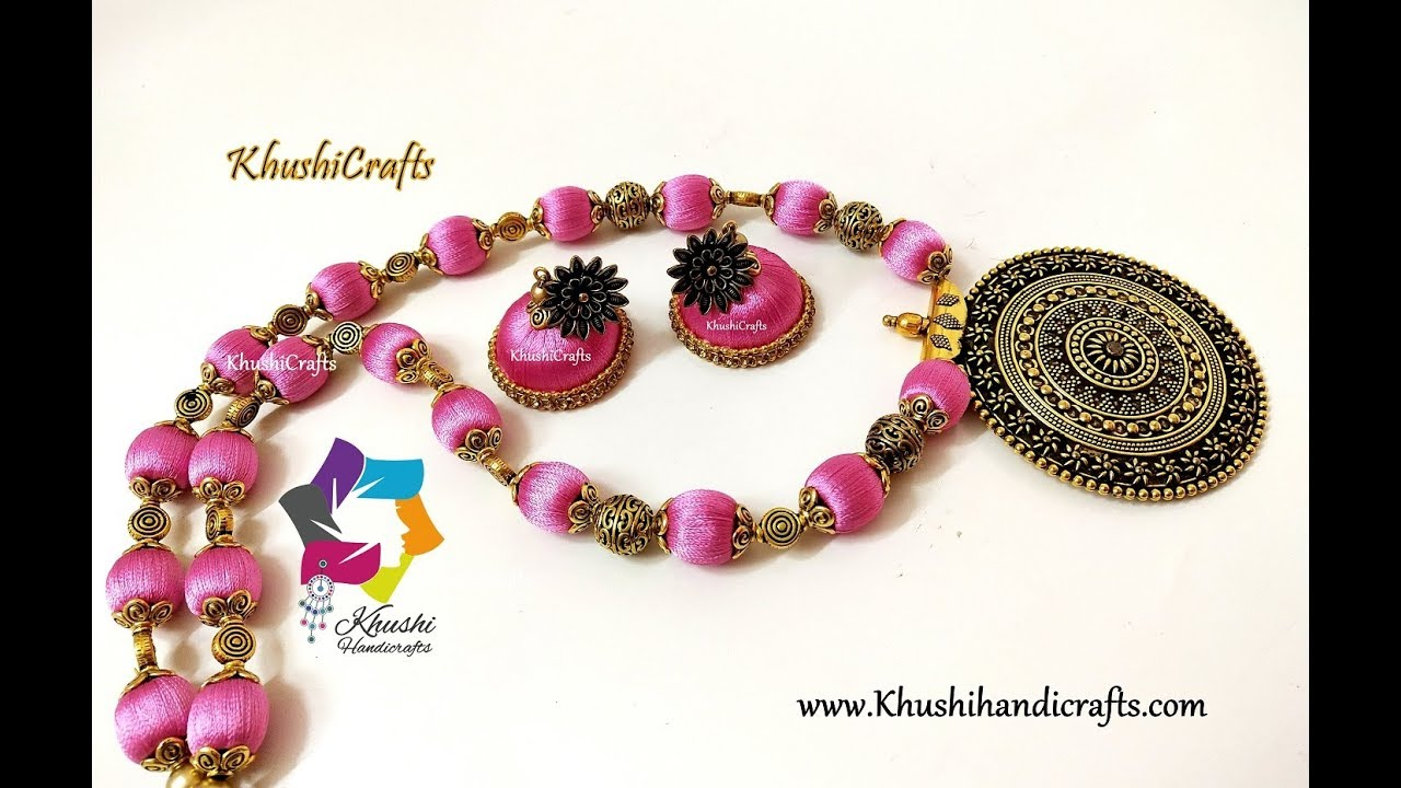 How To Make Silk Thread Necklace And Jhumkas Oxidised Pendant