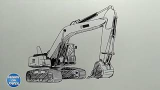 "Very Easy!! How to Draw ""Excavator""- Drawing doodle art for kids"