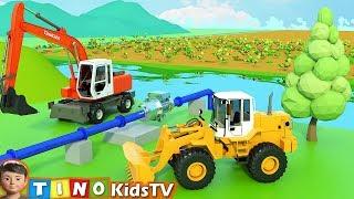 Wheel Loader & Construction Trucks for Kids   Farm Water System Construction for Children