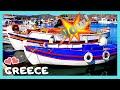 GREECE: The beautiful, colourful fishing BOATS, island of PATMOS (ΠΑΤΜΟΣ)