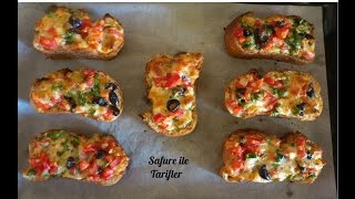 Kahvaltılık Ekmek Üstü Pizza Tarifi - Fırında Kahvaltılık Ekmek Dilimleri -Kahvaltılık Tarifler