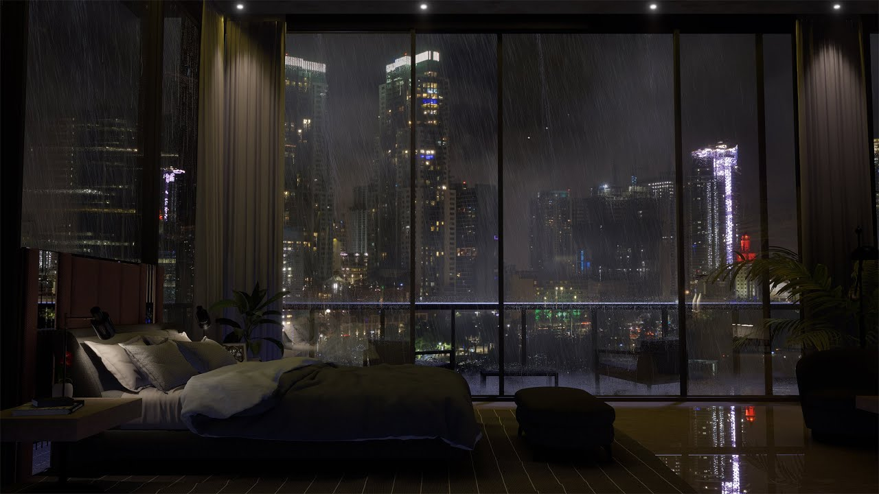 Download Spend The Night In An Exclusive Luxury Miami Apartment | Heavy Rain & Thunder Sounds Outside | 4K