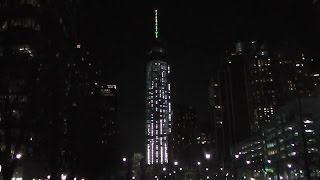 Night Update! One World Trade Center / Freedom Tower 2/1/2014 Antenna spire lights up!