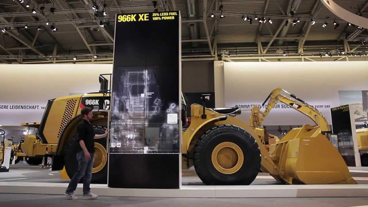Multi-touch X-ray viewer of new Caterpillar excavator using AMD FirePro W9000 + Ventuz software