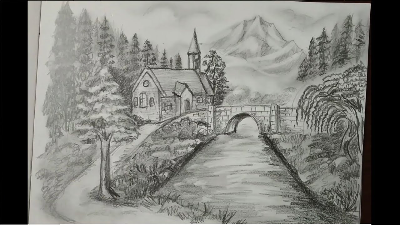 Beautiful nature scenery pencil drawing - YouTube