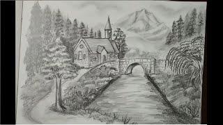 pencil nature scenery drawing