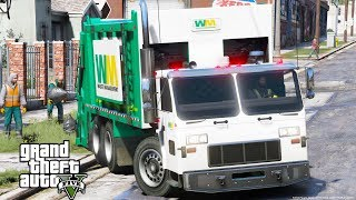 GTA 5 REAL LIFE MOD #21 SANITATION WORKER - NEW WASTE MANAGEMENT GARBAGE TRUCK PICKING UP THE TRASH