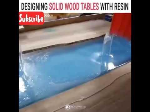 Design meja kayu solid dengan resin