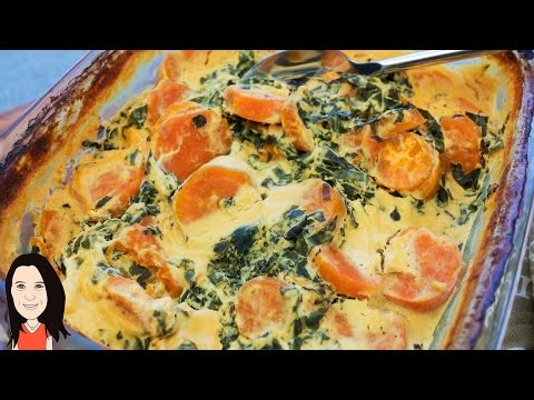 Vegan Cheesy Sweet Potato & Kale Bake NO DAIRY RECIPE!