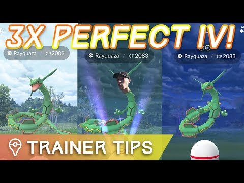 THREE PERFECT IV RAYQUAZA IN ONE DAY! – Pokémon GO Legendary Raid Train