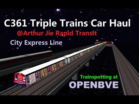 [OpenBVE][AJRT][Trainspotting] Triple Trains Car Haul on City Express Line  