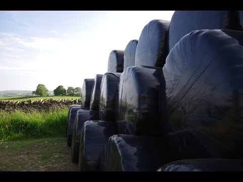 Wrapping silage bales in the Yorkshire Dales