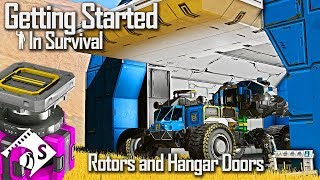 Rotors and Hangar Doors - Getting Started in Survival #8 (Space Engineers tutorial)