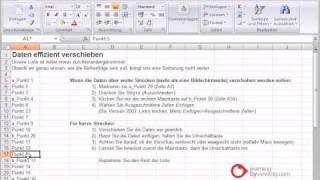 Excel Tutorial Daten verschieben